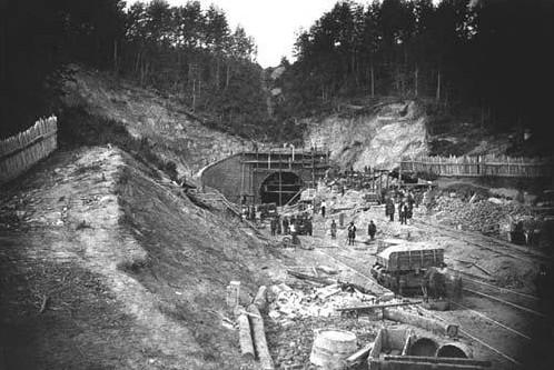 Panerių tunelio statyba. 1859 m. nuotrauka