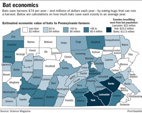 Šikšnosparnių teikiamos ekonominės naudos dydžiai ir pasiskirstymas JAV Pensilvanijos valstijoje